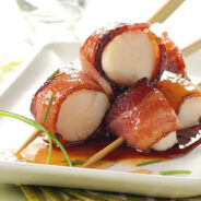 Coffee Glazed Bacon and Scallop Skewers